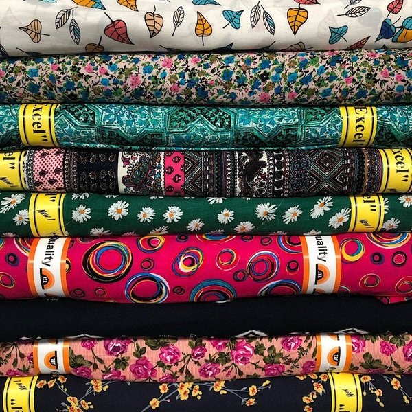 New Printed Viscose Bundle 3 x 3 Metres (Total 9 Metres)