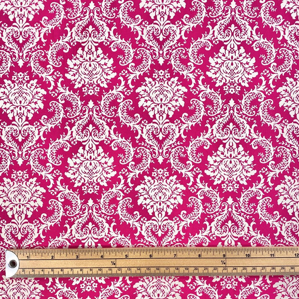 Pink Damask Cotton Poplin Fabric