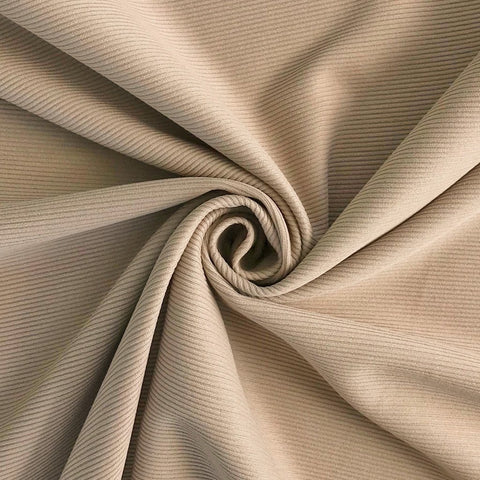 Beige Rib Stretch Fabric