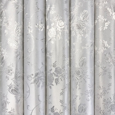Mixed Floral Silver Brocade Fabric