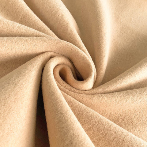 Beige Wool-Like Melton Fabric