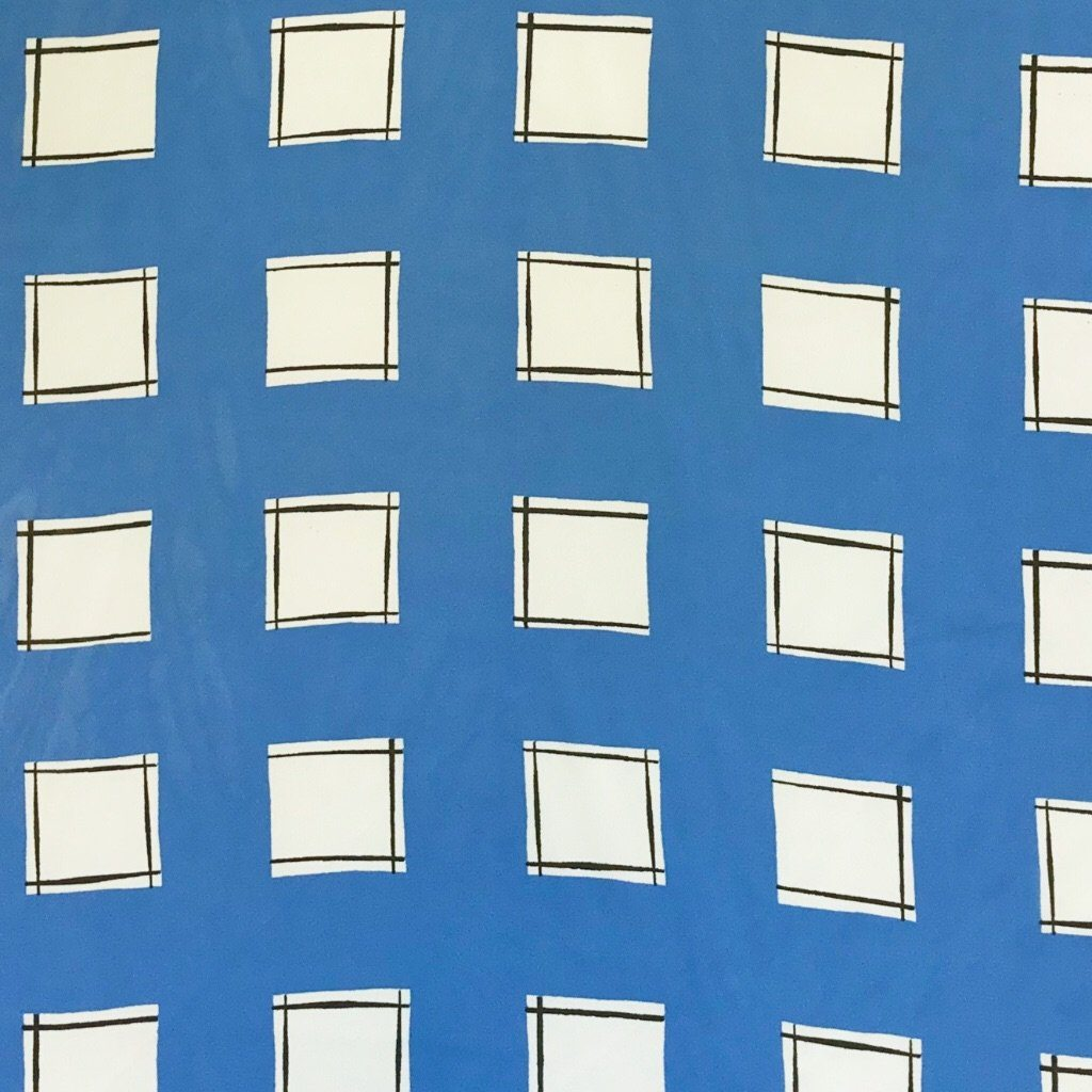 Blue and White Squares Chiffon Fabric