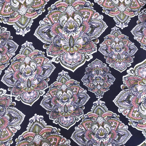 Navy/Pink Indian Design Chiffon Fabric