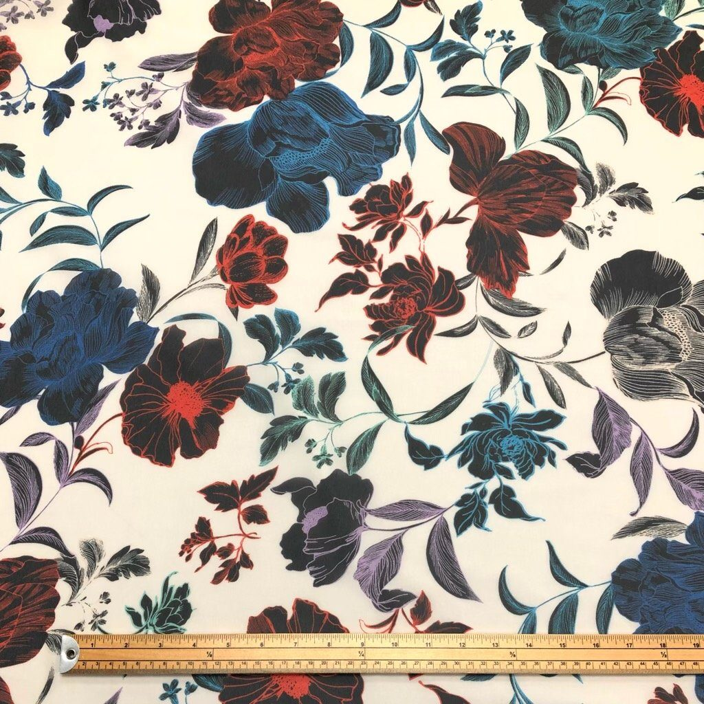 Multicoloured Flowers on Cream Chiffon Fabric