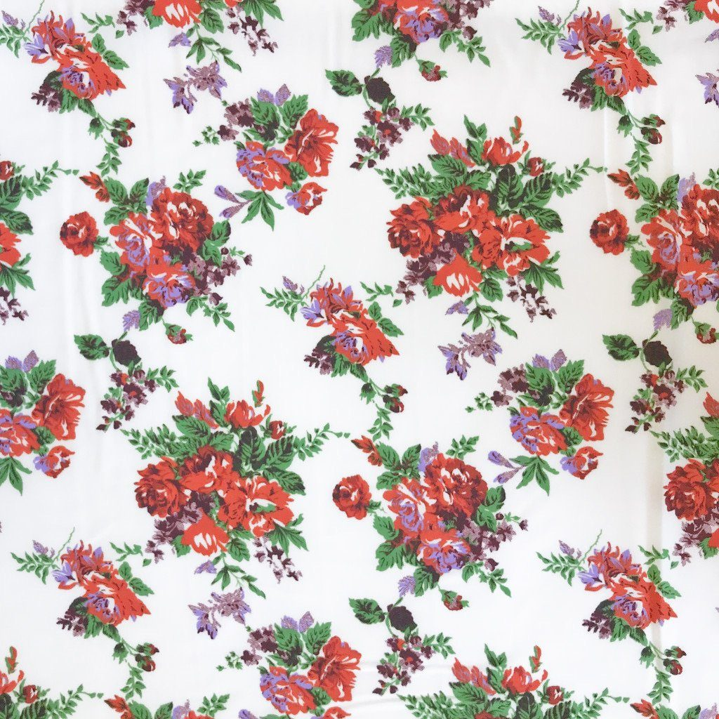 Elliptical Red Flowers Soft Touch Polyester Fabric