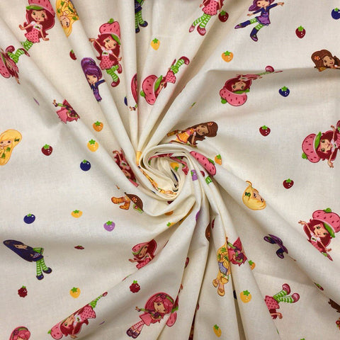 Strawberry Shortcake on Cream Cotton Fabric - 3 metres for £8