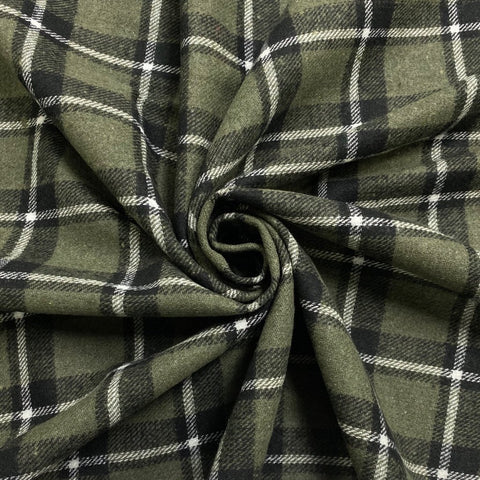 Dull Green Checkered Wool Touch Fabric