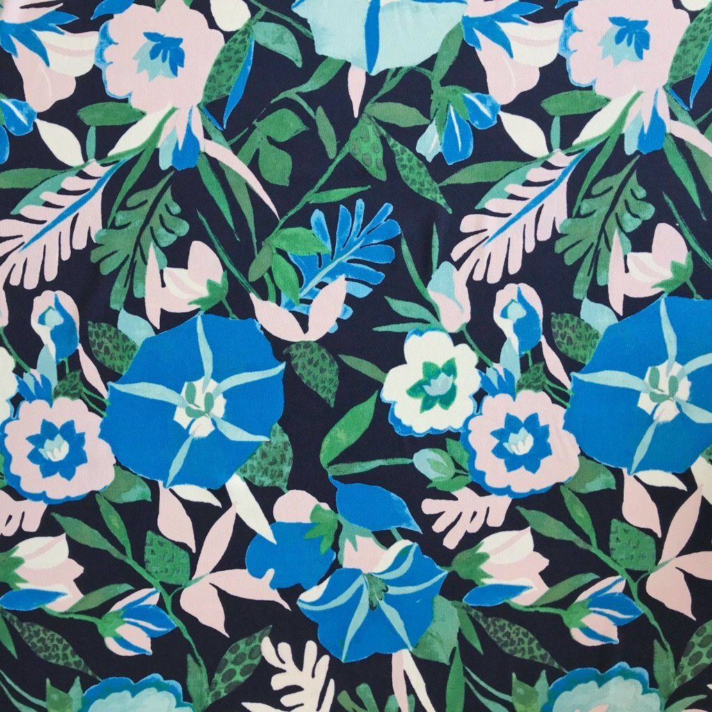 Cold Colours Floral Polyester Fabric