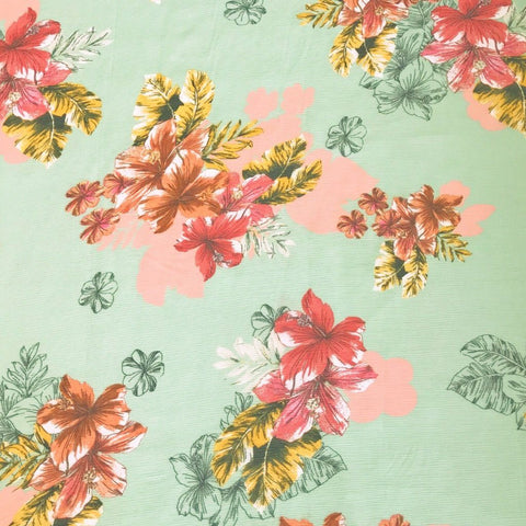 Mint Plants Crinkle Chiffon Fabric - Pound Fabrics