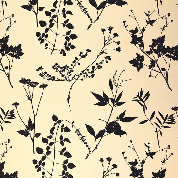 Cream and Brown Leaf Fabric - Pound Fabrics