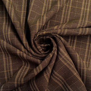 Brown Checkered Woven Fabric
