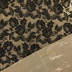 Embroidered Gold Floral Sequin Net Fabric - Pound Fabrics