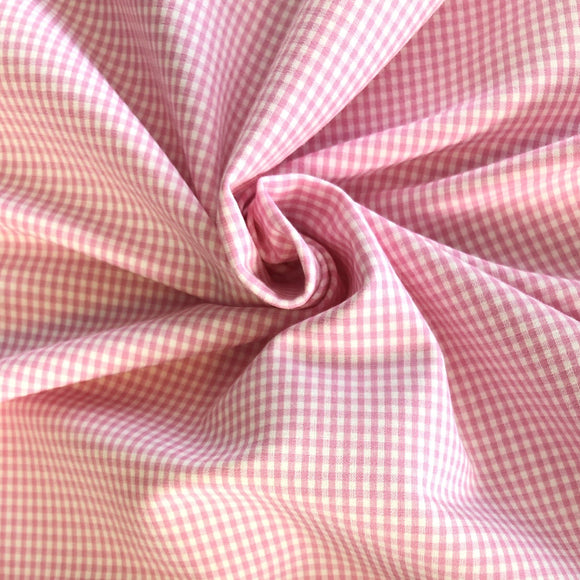 Pink and White Stitch Gingham Fabric - Pound Fabrics