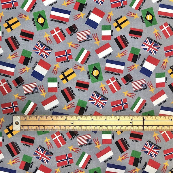 Colourful Flags Cotton Fabric