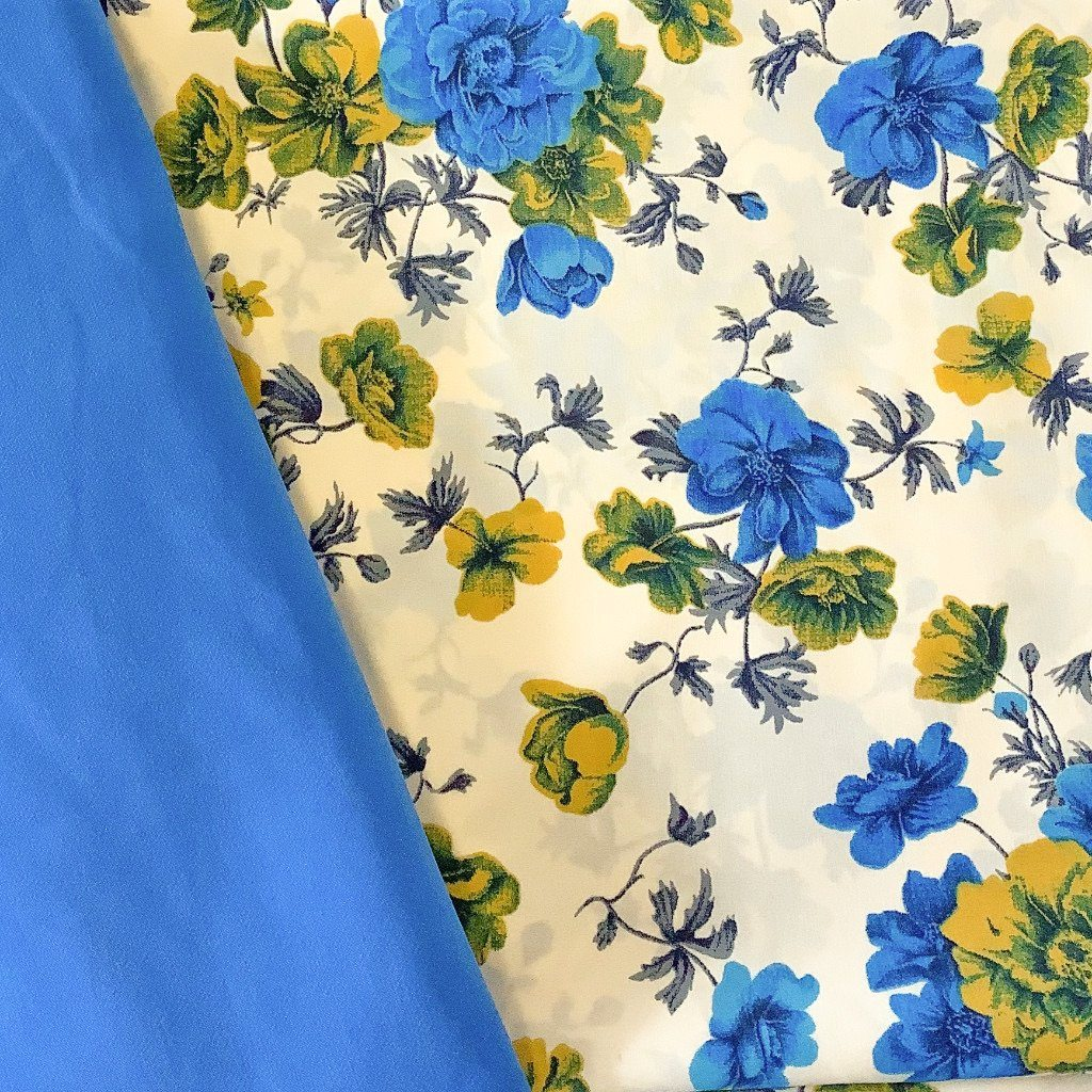 Blue Blossoms Soft Polyester - Print & Plain (2m each)