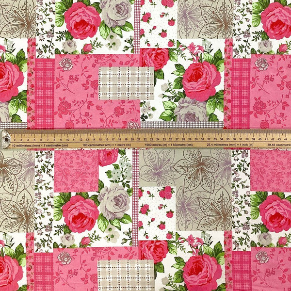 Pink Rose Collage Cotton Canvas Fabric