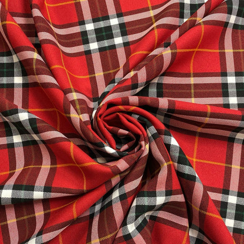 Large Red Tartan Fabric