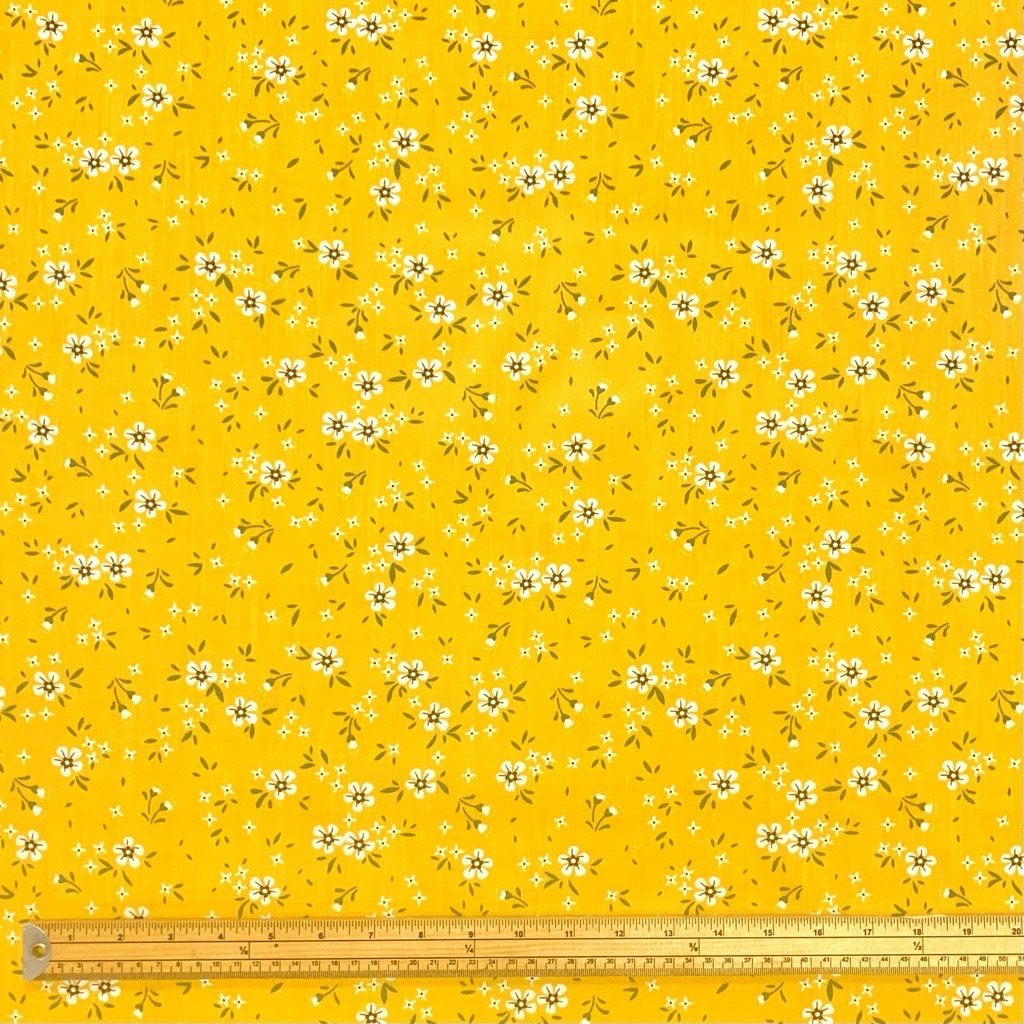 Ditsy Mustard Flower Field Polycotton Fabric