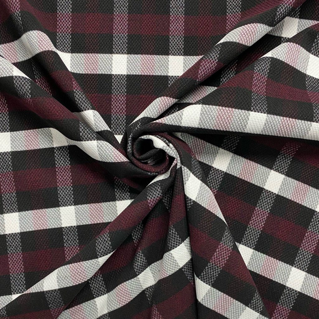 Burgundy & Black Checkered Wool Touch Fabric