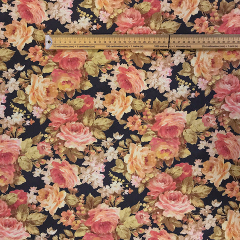 Pink Rose Garden Polyester Fabric