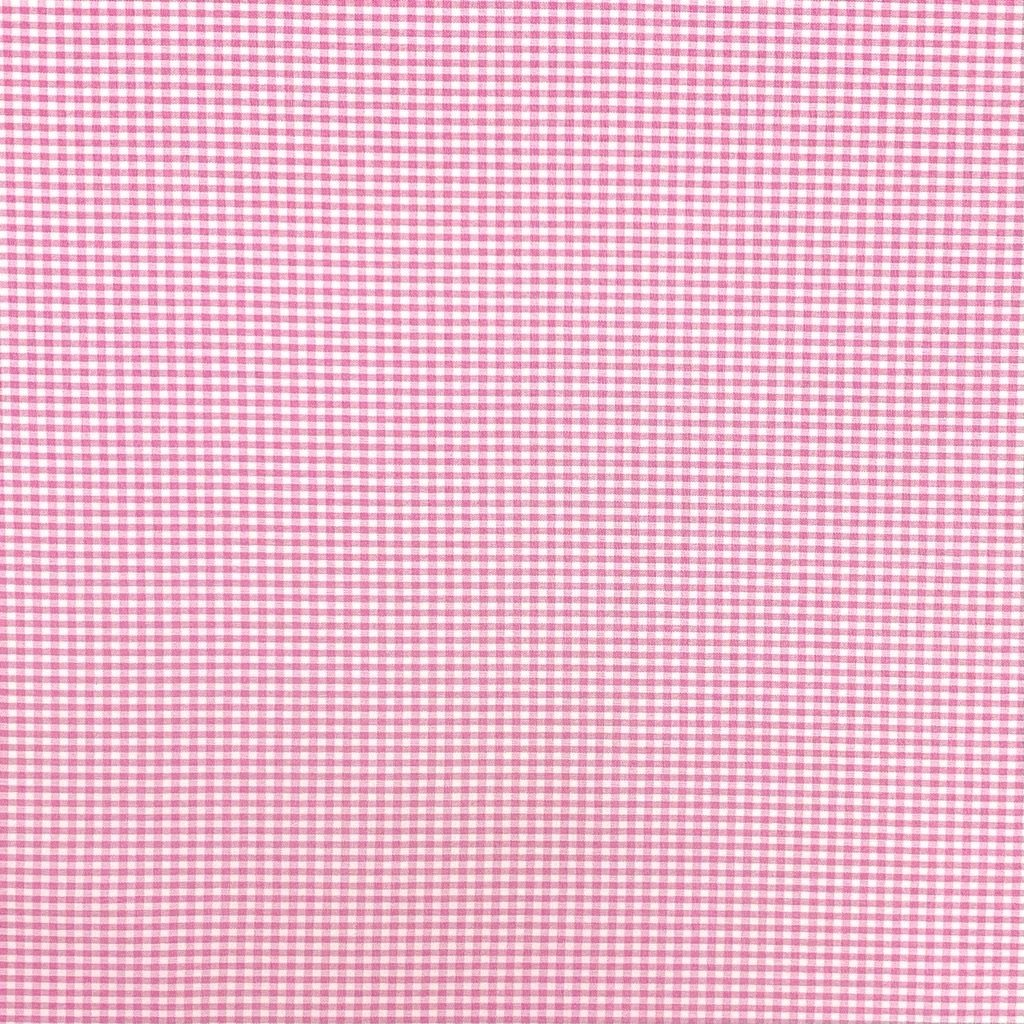 Pink and White Gingham Polyester Blend Fabric