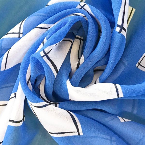 Blue and White Squares Chiffon Fabric - Pound Fabrics