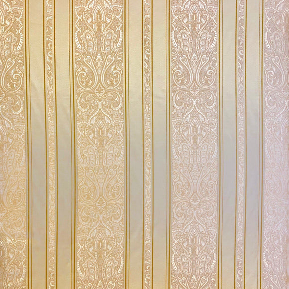 Gold Paisley Stripe Fabric - Pound Fabrics