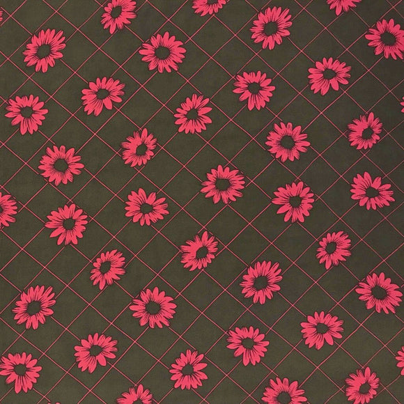 Pink and Brown Daisy Grid Polyester Fabric - Pound Fabrics
