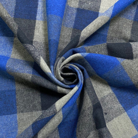 Blue and Grey Checkered Wool Touch Fabric