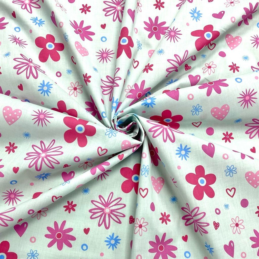 Flower Hearts Polycotton Fabric