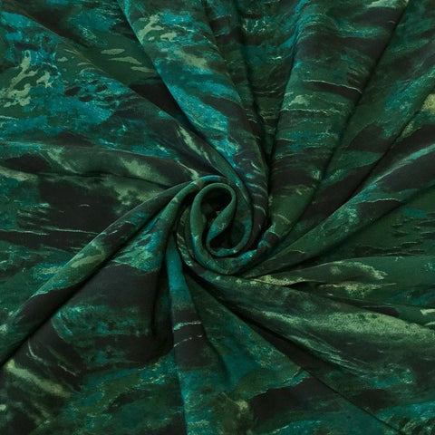 Green Abstract Polyester Fabric