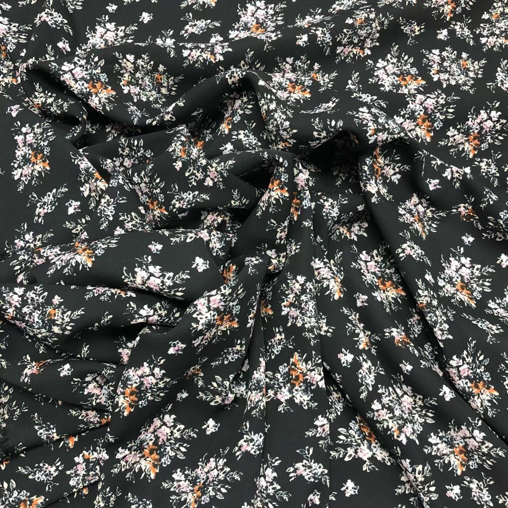 Small Flower Bunches on Black Georgette Fabric