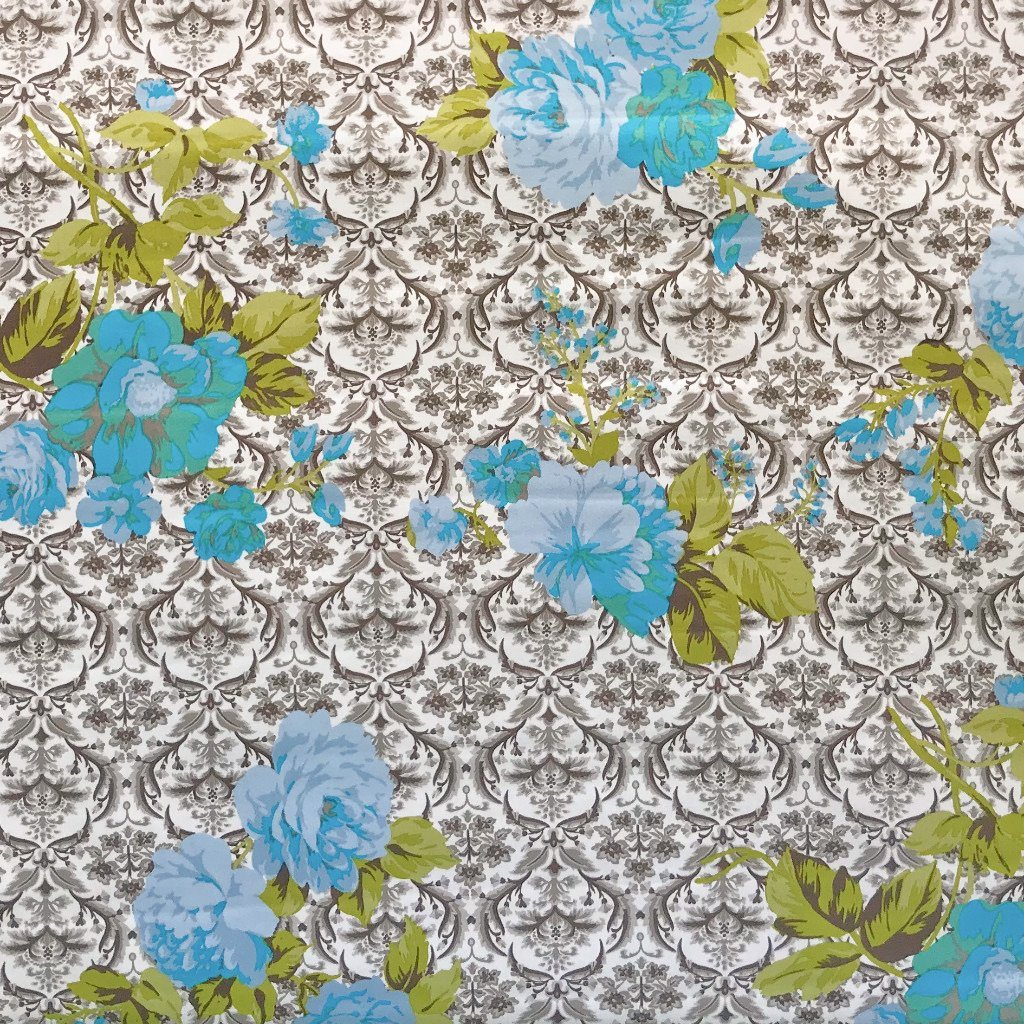 Blue Floral Damask Cotton Sateen Fabric