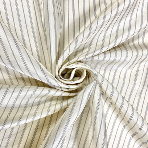 Cream Striped Polyester Sheen Fabric