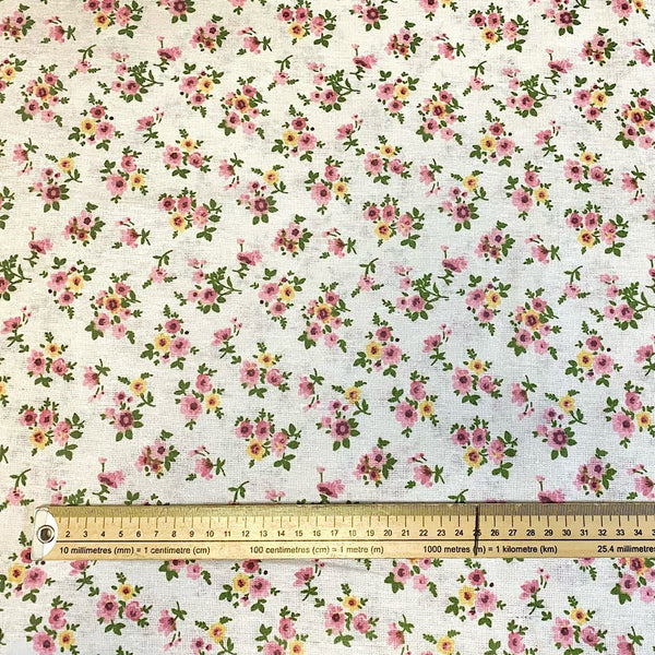Leila Spring Flowers Poly-Linen Fabric