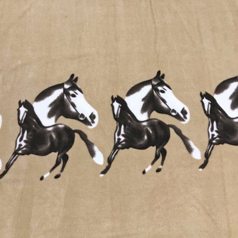 Beige Horses Anti-Pill Polar Fleece Fabric - Pound Fabrics