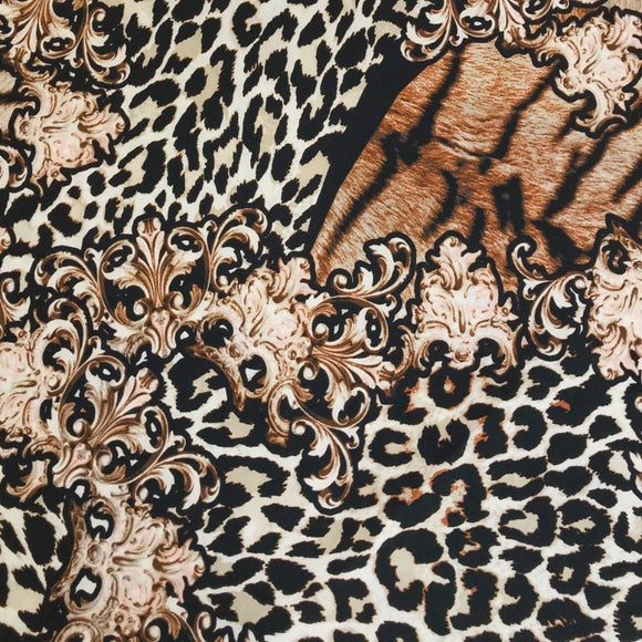 Tiger and Leopard Print Stretch Fabric