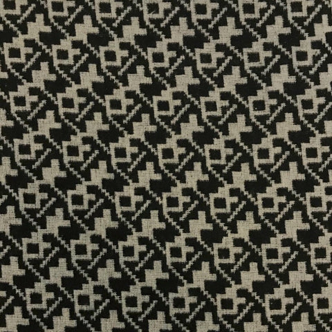 Ivory/Black Geometric Wool Blend Fabric