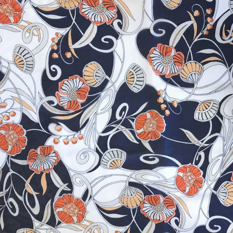 Orange/Navy Flowery Park Chiffon Fabric