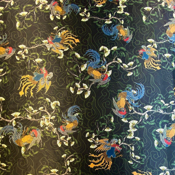 Chinese Rooster Cotton Sateen Fabric