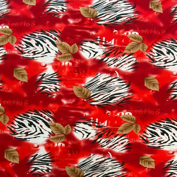 Red - Zebra Stripes and Leaves ITY Jersey Fabric - 3 Metres