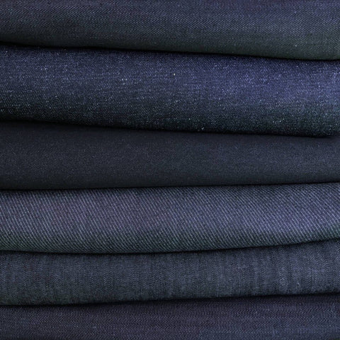 Mixed Dark Blue OR Grey Denim Fabric - Pound Fabrics
