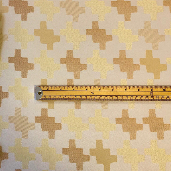 Cream Jigsaw Piece Curtain Fabric - Pound Fabrics