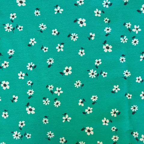 Deep Mint/White Daisies Viscose Linen Fabric