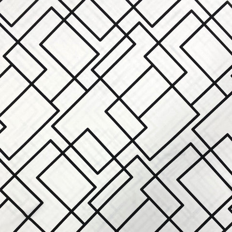 White Overlapping Squares Polyester Fabric