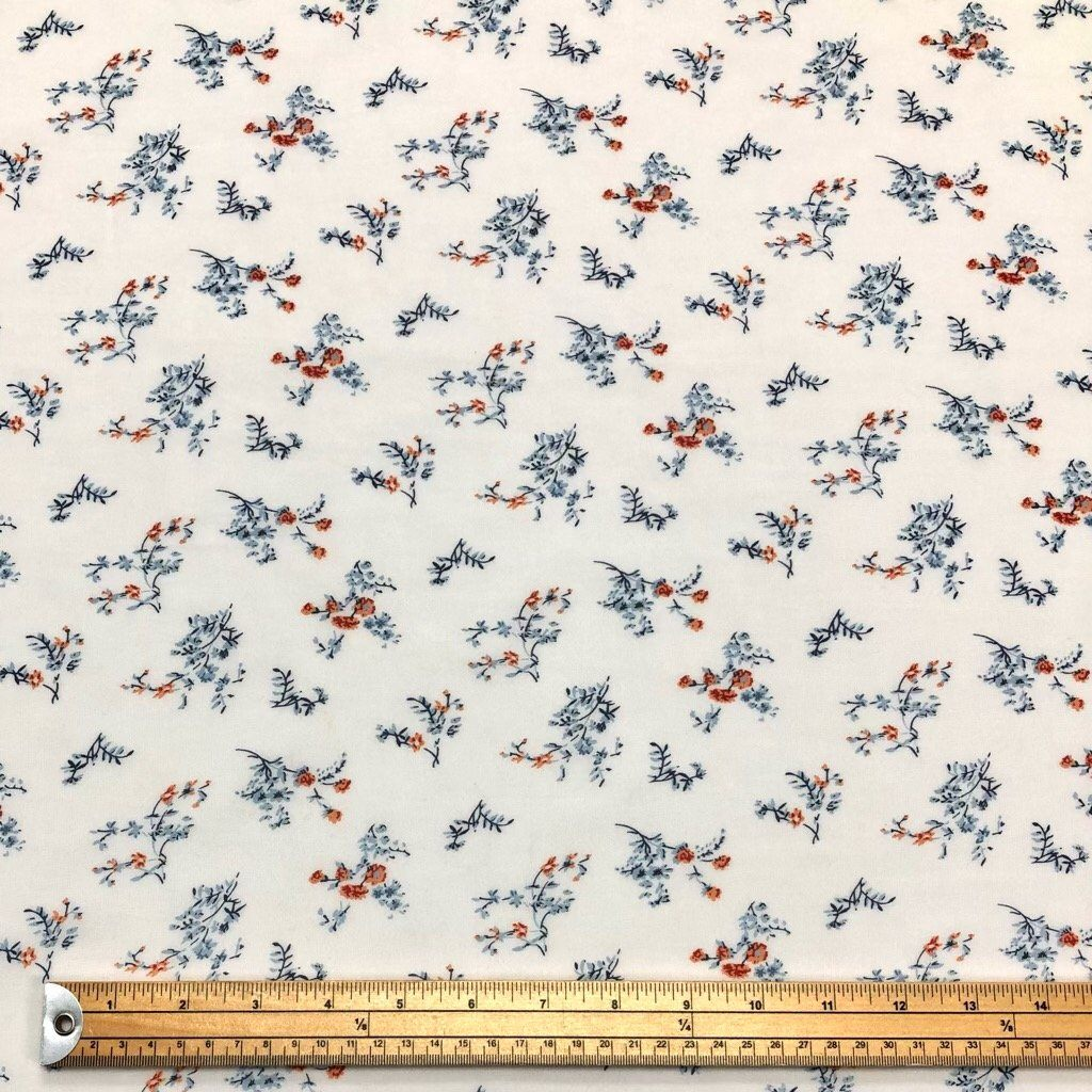 Orange and Greyish Blue Flowers on Cream Chiffon Fabric