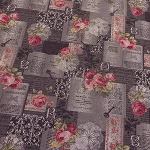 Vintage Rose Posts Cotton Canvas Fabric