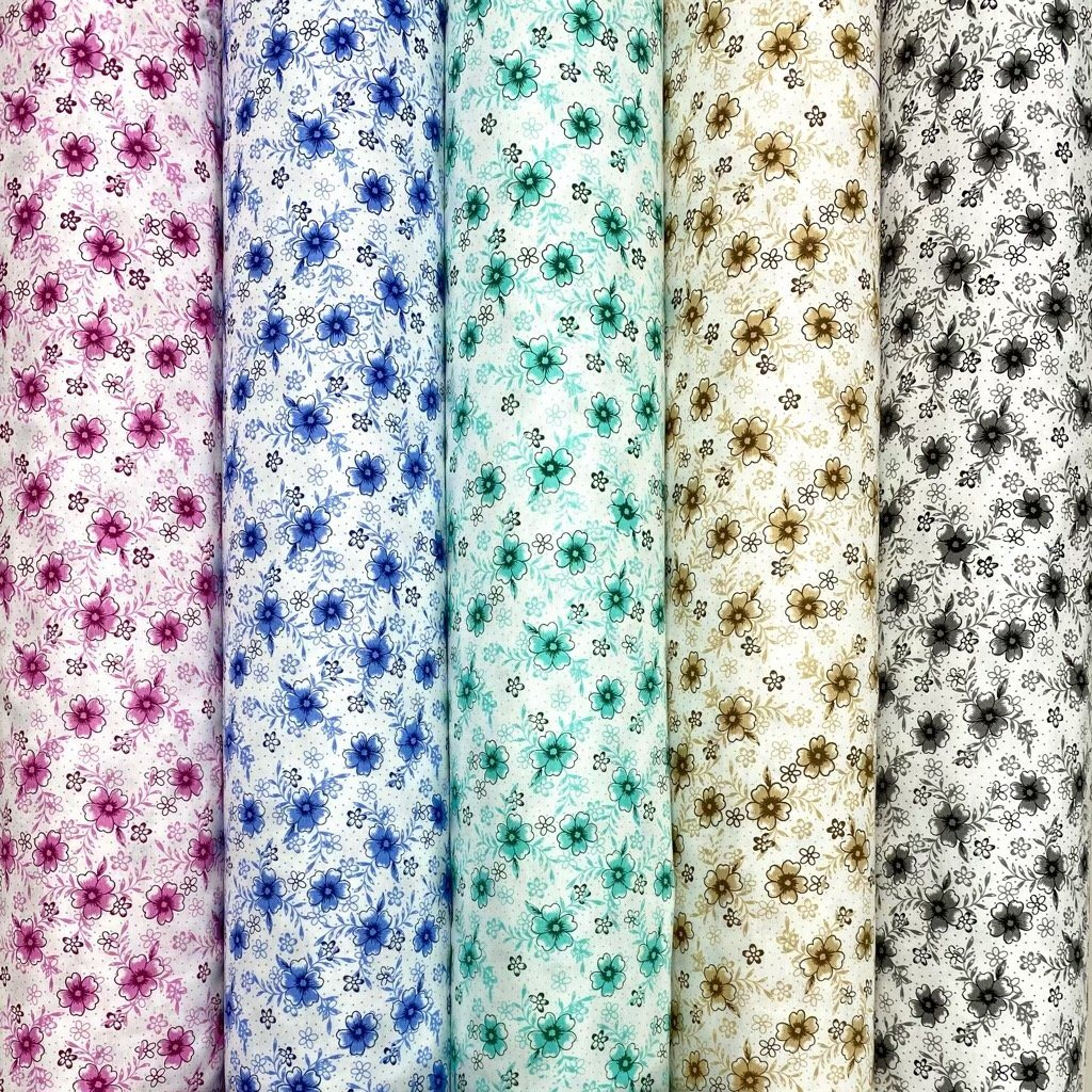 Multi Floral Oxford Polycotton Fabric