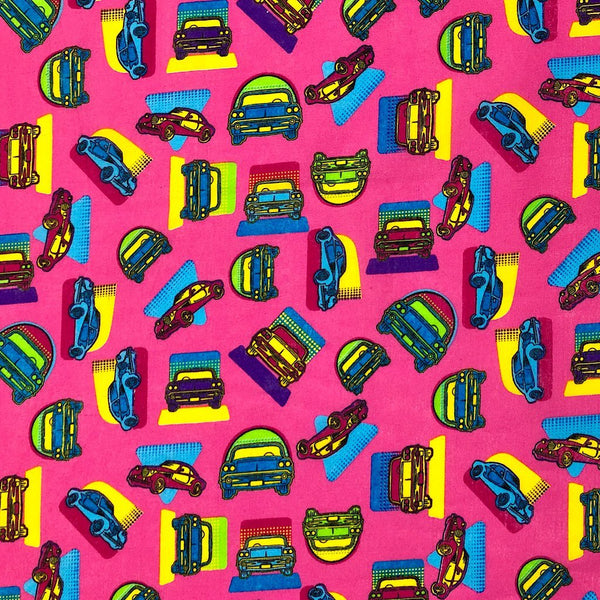Retro Cars Cotton Fabric