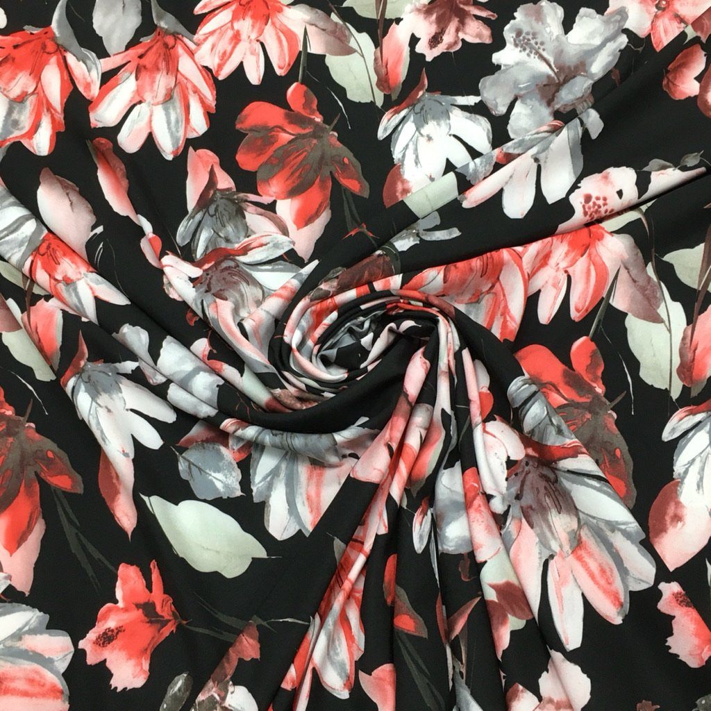 Red and Pink Flower Jungle on Black Polyester Fabric